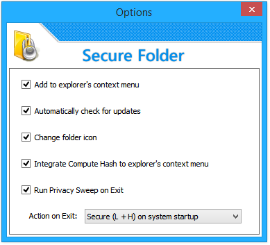 SubiSoft Secure Folder Options